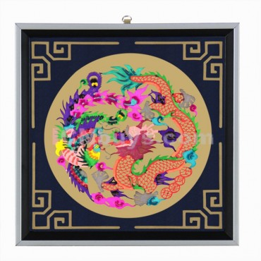 Decorative Paper-cut Frame Dragon Phoenix