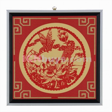 Decorative Paper-cut Frame Flower Two Birds