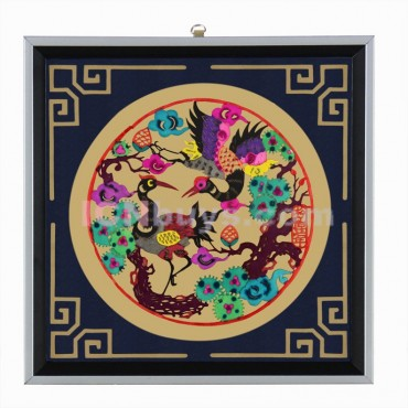 Decorative Paper-cut Frame Longevity Crane Pine