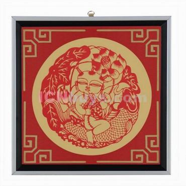 Decorative Paper-cut Frame Lotus Kid Carp