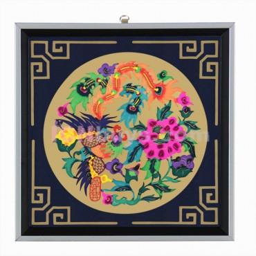 Decorative Paper-cut Frame Phoenix Peony