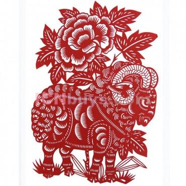 Paper Cutting Chinese Zodiac Goat Elegant