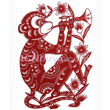 Paper Cutting Chinese Zodiac Monkey Clever