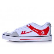 Warrior Footwear White Basketball Shoes Red Stripe